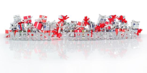 Wesołych świąt srebrny tekst na tle prezentów
