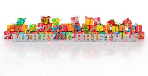 Wesołych świąt srebrny tekst na tle różnokolorowych prezentów