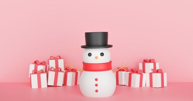 Wesołych świąt z bałwanem i pudełkami prezentowymi. renderowanie 3d.