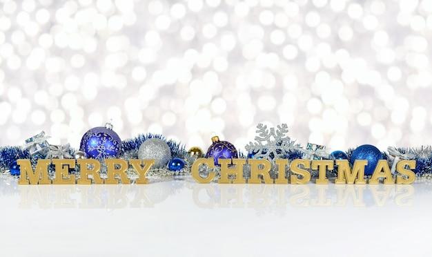 Wesołych świąt złoty tekst na tle ozdób choinkowych na tle bokeh