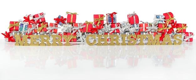 Wesołych świąt złoty tekst na tle srebrnych i czerwonych prezentów