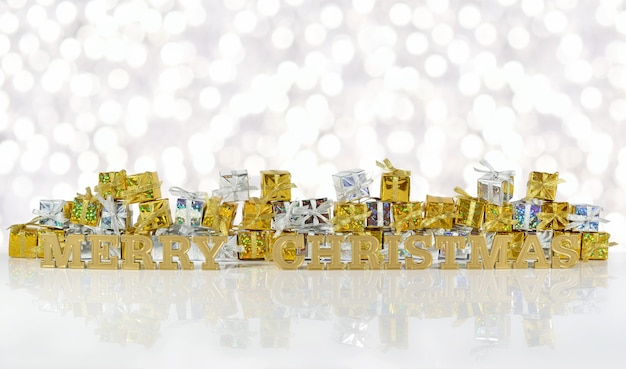 Wesołych świąt złoty tekst na tle złotych i srebrnych prezentów na tle bokeh