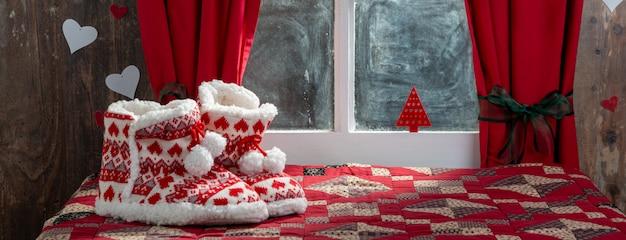 Wesołych świątecznych kompozycji w pantofle