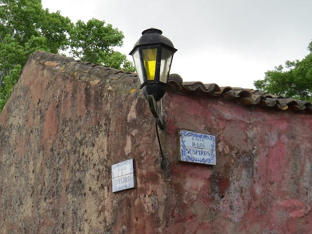 Westchnienia ulicy znak w colonia del sacramento, urugwaj