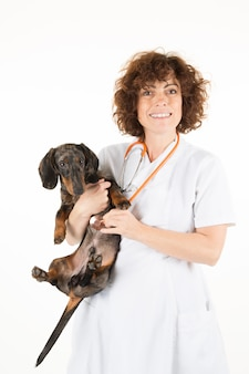 Weterynarz lekarz z psem w biurze lekarza weterynarii