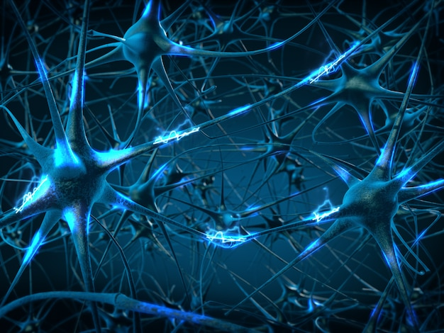 Wewnątrz mózgu. pojęcie neuronów i układu nerwowego. renderowania 3d.