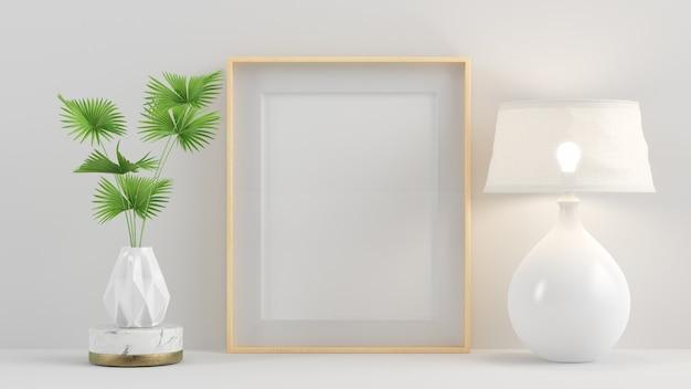 Wewnętrzna drewniana rama plakatowa z makietą minimalnego renderowania 3d roślin i lamp