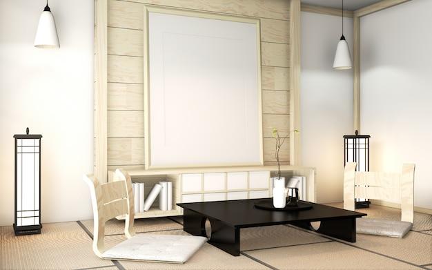 Wewnętrzna drewniana ściana pokoju zen na matowej podłodze tatami z ramą plakatową, niskim stołem i fotelem. renderowanie 3d