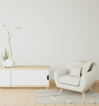 Wewnętrzna drewniana szafka i fotel minimalne w nowoczesnym białym pokoju japońskim. renderowanie 3d