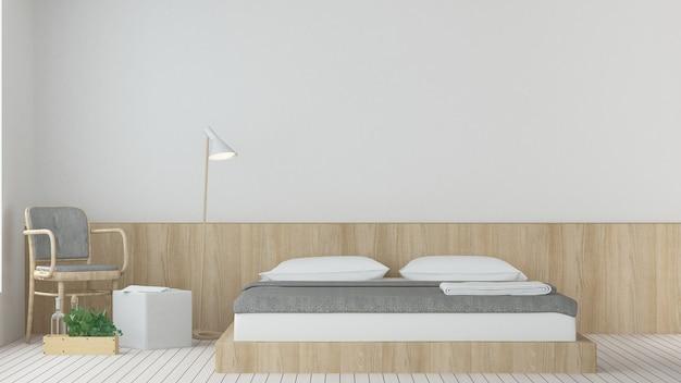 Wewnętrzna hotelowa sypialnia i relaksujemy przestrzeń 3d odpłaca się białego tło