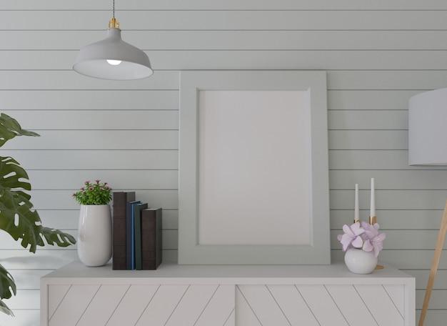 Wewnętrzna pusta ramka na plakat w salonie