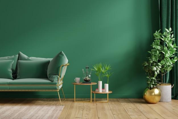 Wewnętrzna zielona ściana z zieloną sofą i wystrojem w salonie