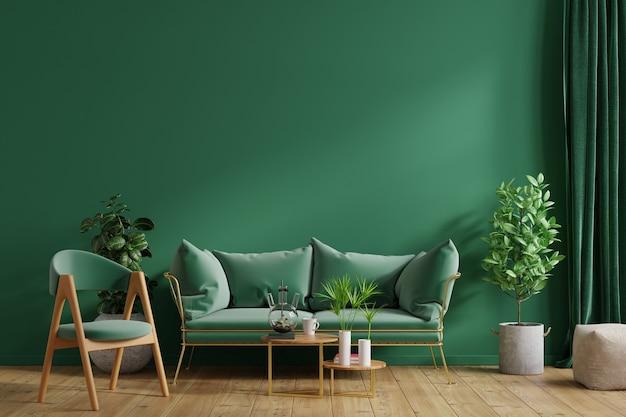 Wewnętrzna zielona ściana z zieloną sofą i zielonym fotelem w salonie, renderowanie 3d