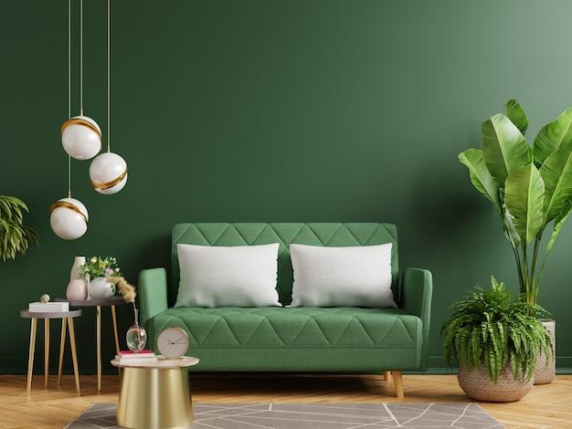 Wewnętrzna zielona ściana z zieloną sofą w salonie, renderowanie 3d