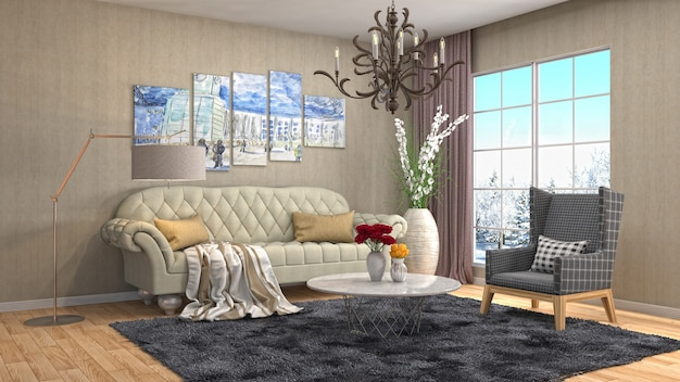Wewnętrzna żywa pokoju 3d ilustracja