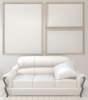 Wewnętrzne plakatowe drewniane ramy, kanapa, roślina i lampa w żywym pokoju z białej ściany minimalistycznym projektem.