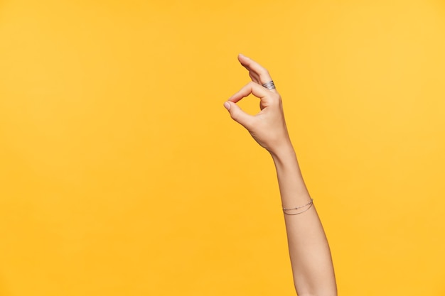 Wewnętrzne zdjęcie zadbanych, jasnoskórych kobiecych dłoni z uniesionymi ozdobami, pokazując gest palcami w porządku, odizolowane na żółtym tle