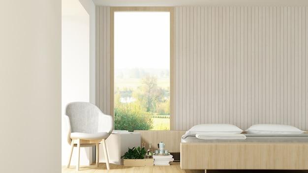 Wewnętrzny hotelowy sypialni przestrzeni 3d rendering i natura widok