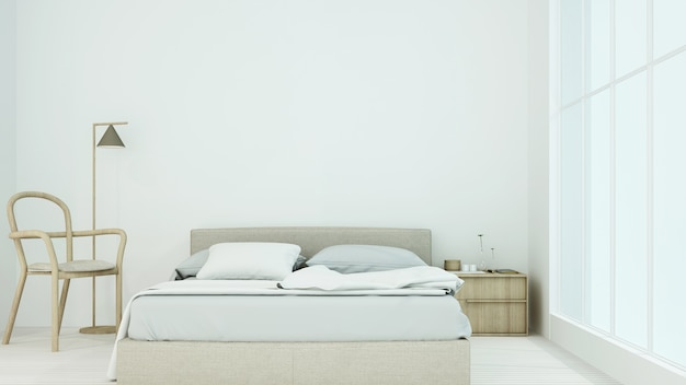 Wewnętrzny mieszkanie sypialni przestrzeni 3d rendering i dekoraci tło