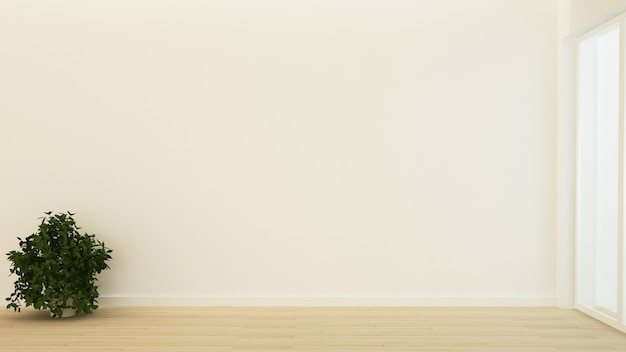 Wewnętrzny minimalny pusty przestrzeń 3d rendering i natura widoku tło