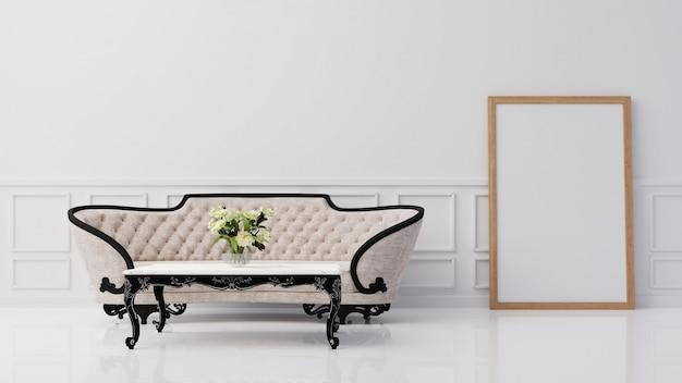 Wewnętrzny plakat wyśmiewa w górę żywego pokoju z kolorowym białym karła renderingiem 3d