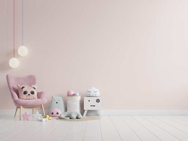 Wewnętrzny pokój dziecięcy z jasnoróżową ścianą i dekoracją. renderowanie 3d