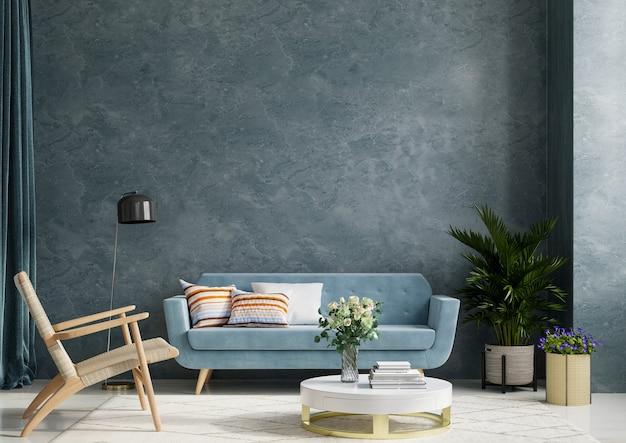 Wewnętrzny pokój z sofą i fotelem na pustym ciemnoniebieskim tle ściany betonowej, renderowanie 3d