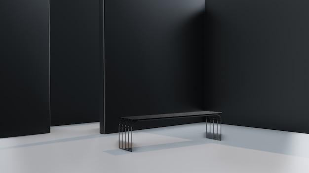 Wewnętrzny pokój z żelaznym leżakiem i czarną ścianą