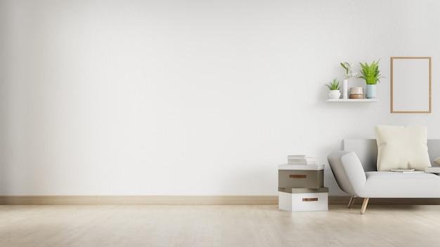 Wewnętrzny żywy pokój z białą kanapą i pustą ścianą z copyspace. renderowanie 3d.