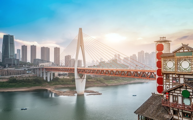 Wgląd nocy chongqing i panoramę krajobrazu architektonicznego