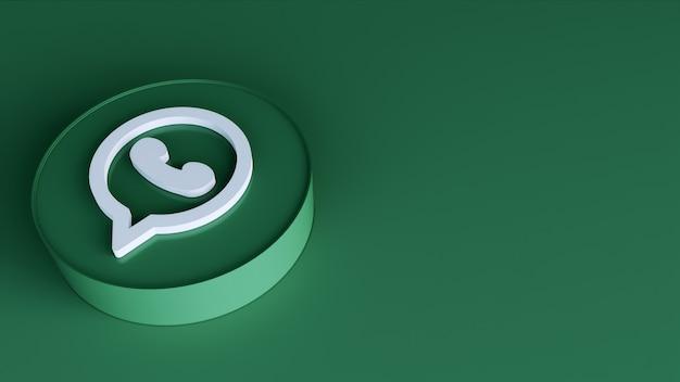 Whatsapp ikona przycisku koło 3d z miejsca na kopię. renderowanie 3d