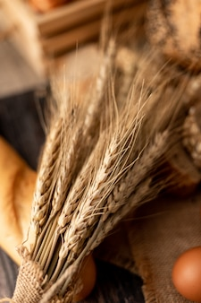 Wheatgrass na chlebach na drewnie