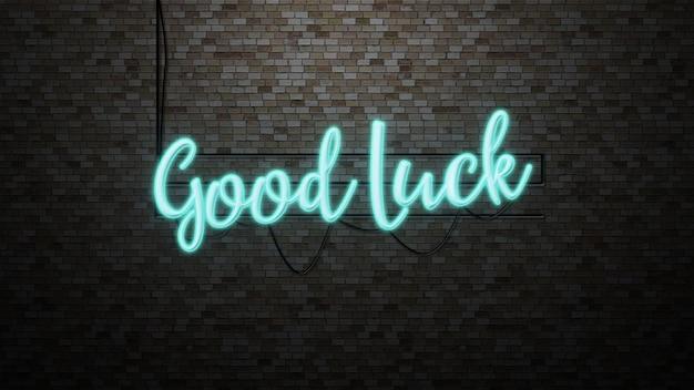 Wiadomość powodzenia z neonem na ścianie z cegły
