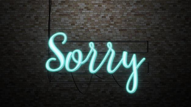 Wiadomość przepraszamy za światło neonowe na tle ściany z cegły