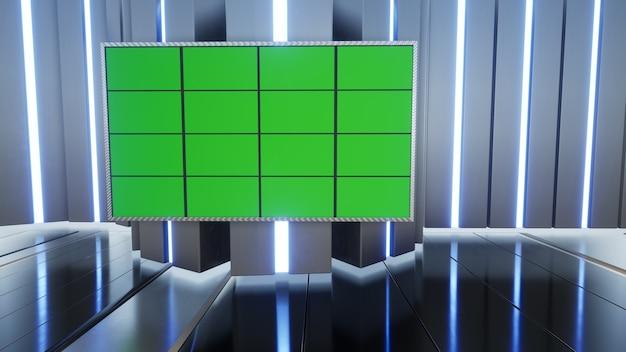 Wiadomości 3d virtual tv studio z renderowaniem 3d na zielonym ekranie