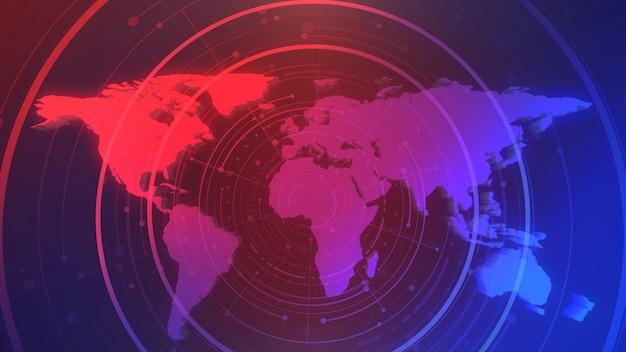 Wiadomości intro graficzna animacja z kręgami i mapą świata, streszczenie tło. elegancki i luksusowy styl ilustracji 3d do wiadomości i szablonu biznesowego