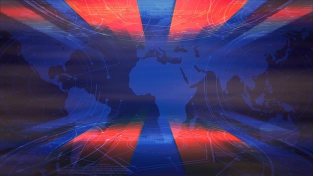 Wiadomości intro graficzna animacja z liniami i mapą świata, streszczenie tło. elegancki i luksusowy styl ilustracji 3d do wiadomości i szablonu biznesowego