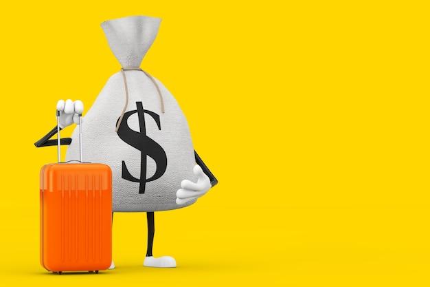 Wiązane rustykalne płótno lniane worek pieniędzy lub worek pieniędzy i znak dolara maskotka z pomarańczową walizką podróżną na żółtym tle. renderowanie 3d
