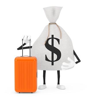 Wiązane rustykalne płótno lniane worek pieniędzy lub worek pieniędzy i znak dolara maskotka z pomarańczowym walizką podróżną na białym tle. renderowanie 3d