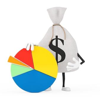 Wiązane rustykalne płótno lniane worek pieniędzy lub worek pieniędzy i znak dolara maskotka znaków z wykresem kołowym firmy grafika informacji na białym tle. renderowanie 3d