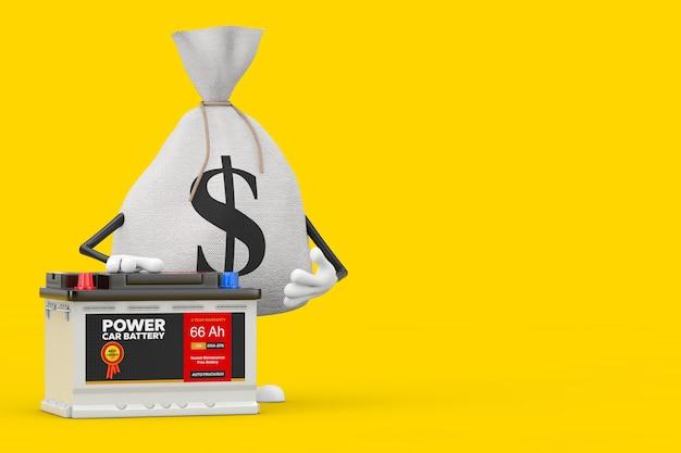 Wiązany rustykalny płótno lniany worek pieniędzy lub worek pieniędzy i maskotka znaków znak dolara z akumulatorem samochodowym 12 v akumulatorem i streszczenie etykieta na żółtym tle. renderowanie 3d