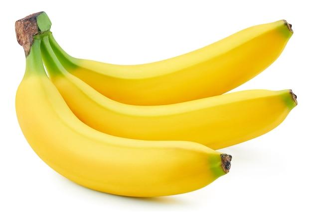 Wiązka bananów na białym tle. dojrzałe banany.