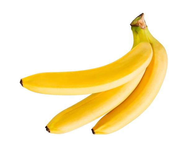 Wiązka bananów na białym tle. świeży owoc banana. widok z góry organicznych bananów.