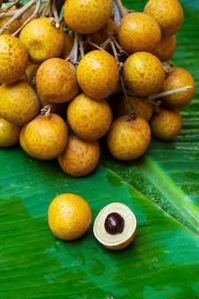Wiązka longan rozgałęzia się na tle zielony bananowy liść. witaminy, owoce, zdrowa żywność