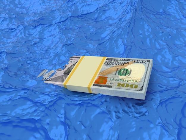 Wiązka pieniędzy tonie w wodzie. koncepcja kryzysu