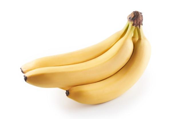 Wiązka żółtych bananów na białym tle na biały z miejsca kopiowania, widok z góry, ścieżkę przycinającą