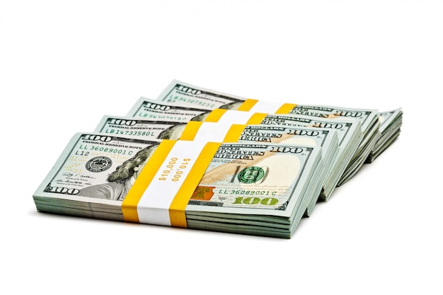 Wiązki banknotów 100 banknotów amerykańskich w 2013 r