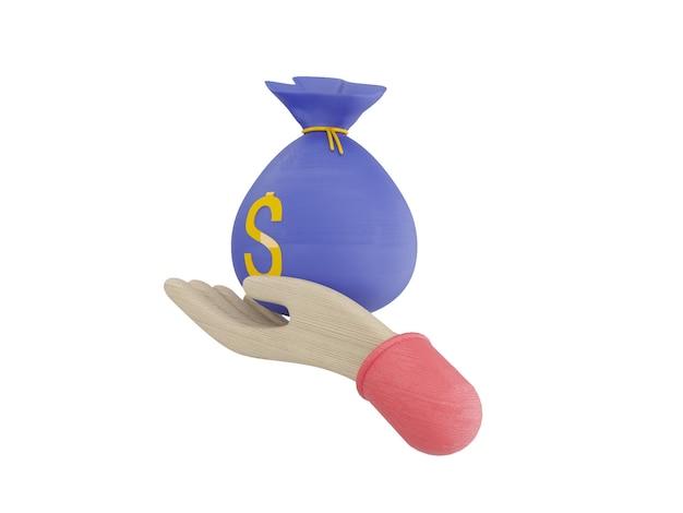 Wiązki gotówki i pływające monety zestaw ikon niebieski różowy tło ilustracja 3d