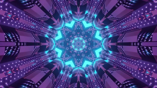 Wibrująca ilustracja 3d abstrakcyjne wizualne tło futurystycznego tunelu z kwiatowym ornamentem okrągłej bramy i fioletowym oświetleniem symetrycznych paneli