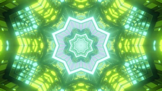 Wibrująca ilustracja 3d abstrakcyjne wizualne tło z symetrycznymi kalejdoskopowymi zielonymi ramkami w kształcie gwiazdy i kwiatów, tworząc niekończący się efekt tunelu
